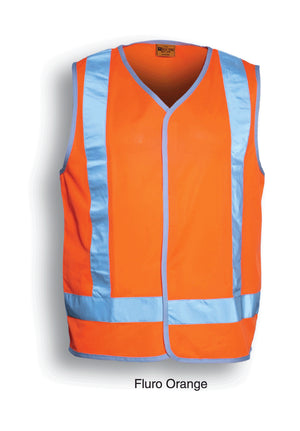 Bocini-Bocini Hi-Vis Vest With Reflective Tape-Fluro Orange / S-Uniform Wholesalers - 2