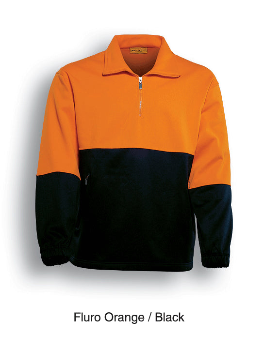 Bocini-Bocini Hi-Vis Half zip Fleece-Fluro Orange/Black / S-Uniform Wholesalers - 2