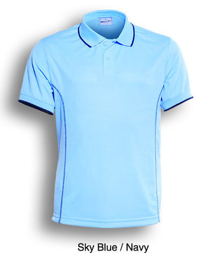 Bocini-Bocini Ladies Stitch Feature Essential  Short Sleeve Polo(2nd 12 colors)-Sky Blue/Navy / 8-Uniform Wholesalers - 5