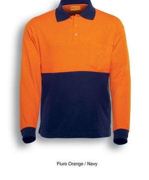 Bocini-Bocini Hi-Vis Poly/Cotton Polo-Fluro Orange/Navy / S-Uniform Wholesalers - 2