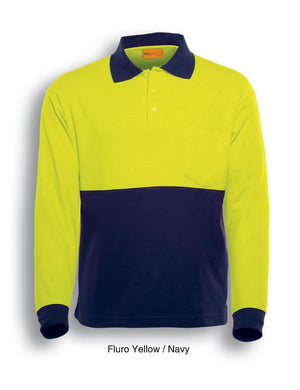 Bocini-Bocini Hi-Vis Poly/Cotton Polo-Fluro Yellow/Navy / S-Uniform Wholesalers - 3
