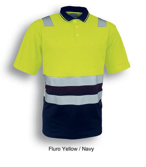 Bocini-Bocini Hi-Vis Polyface/Cotton Back Polo-Fluro Yellow/Navy / S-Uniform Wholesalers - 3