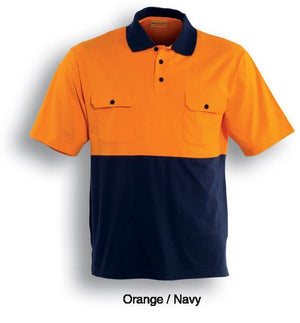 Bocini-Bocini Hi-Vis Cotton Jersey Polo-Orange/Navy / S-Uniform Wholesalers - 2