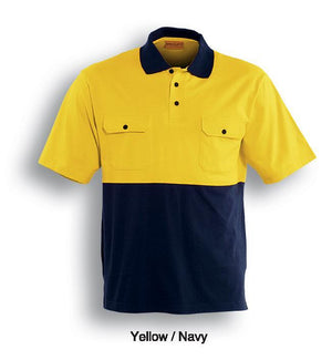 Bocini-Bocini Hi-Vis Cotton Jersey Polo-Yellow/Navy / S-Uniform Wholesalers - 3