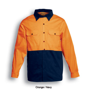 Bocini-Bosini Hi-Vis Cotton Twill Long Sleeve Shirt-Orange/Navy / S-Uniform Wholesalers - 2