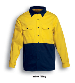 Bocini-Bosini Hi-Vis Cotton Twill Long Sleeve Shirt-Yellow/navy / S-Uniform Wholesalers - 3