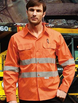 "Bocini Hi-Vis Cotton Drill Shirt Wtih Reflective Tape ""X"" Pattern (SS1233)"