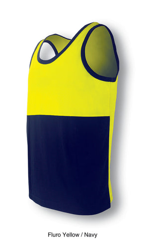 Bocini-Bocini Hi-Vis Polyface/Cotton Back Singlet-Fluro Yellow/Navy / S-Uniform Wholesalers - 3
