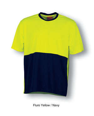 Bocini-Bocini Hi-Vis Safety Tee-Fluro Yellow/Navy / S-Uniform Wholesalers - 3