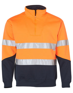 Winning Spirit Men's Hi-Vis Long Fleece Sweat with Collar and 3M Tapes (SW14)