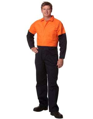 Winning Spirit-Winning Spirit  Mens Two Tone coverall Stout-Fluoro Orange/Navy / 87S-Uniform Wholesalers - 1