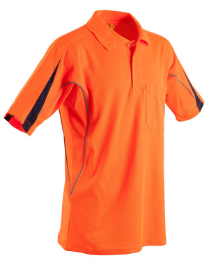 Winning Spirit-Winning Spirit Men's TrueDry® Hi-Vis Polo with Reflective Piping-Orange/Navy / S-Uniform Wholesalers - 2