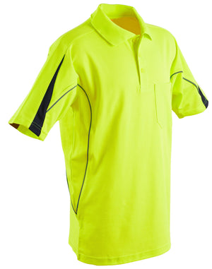 Winning Spirit-Winning Spirit Men's TrueDry® Hi-Vis Polo with Reflective Piping-Yellow/Navy / L-Uniform Wholesalers - 3