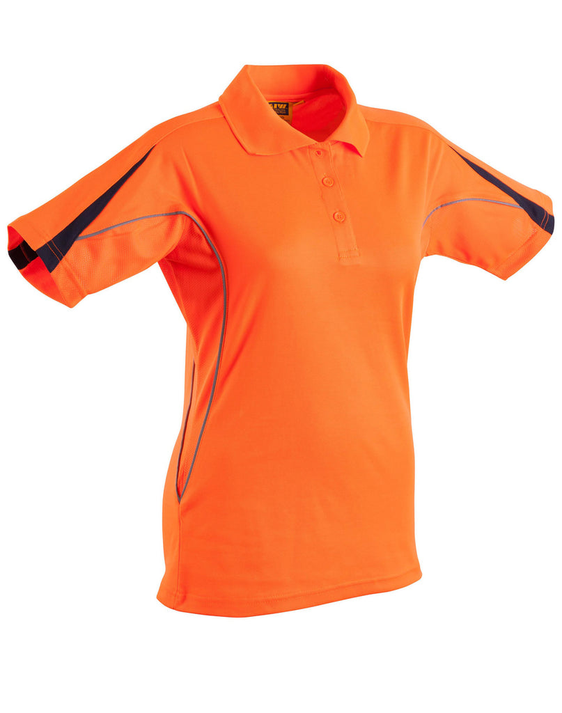 Winning Spirit-Winning Spirit Ladies' TrueDry® Hi-Vis Polo with Reflective Piping-Orange/Navy / 8-Uniform Wholesalers - 2
