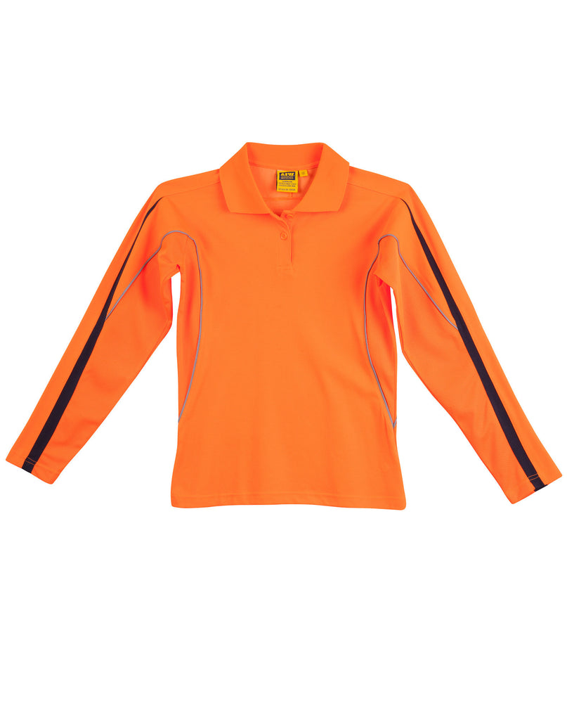 Winning Spirit-Winning Spirit Ladies' Truedry Hi-vis Legend Long Sleeve Polo With Reflective Piping-Orange/Navy / 8-Uniform Wholesalers - 2
