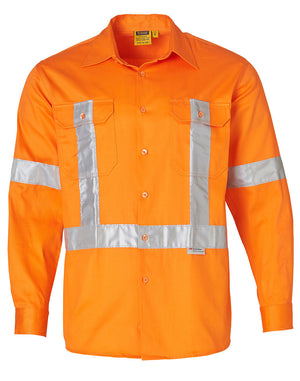Winning Spirit High Visibility Regular Weight Long Sleeve Drill Shirts-(SW56)