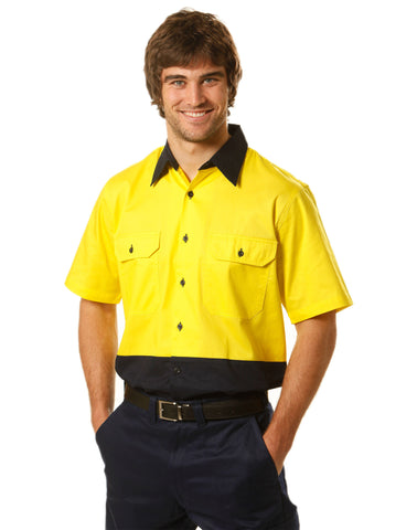 Winning Spirit-Winning Spirit Hi-Vis Two Tone Cool-Breeze Short Sleeve Cotton Work Shirt--Uniform Wholesalers - 1