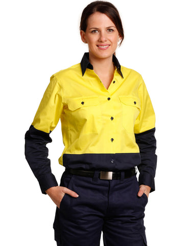 Winning Spirit Womens Long Sleeve Hi Vis Shirts-(SW64)