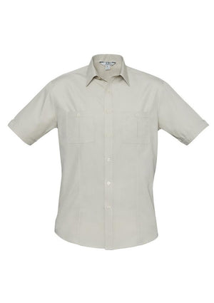 Biz Collection-Biz Collection Mens Bondi Short Sleeve Shirt-Sand / XS-Corporate Apparel Online - 7