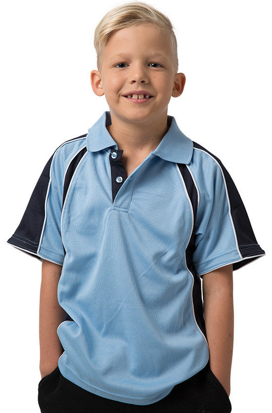 Be Seen-Be Seen Kids Polo Shirt With Contrast Sleeve Edge Piping-Sky-Navy-White / 6-Uniform Wholesalers - 16