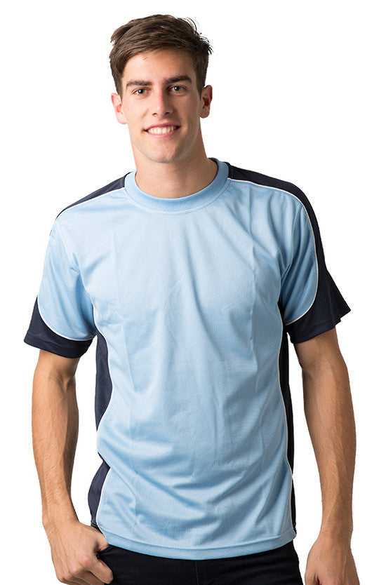 Be Seen-Be Seen Men's Short Sleeve T-shirt With Contrast 2nd( 7 Color )-Sky-Navy-White / XS-Uniform Wholesalers - 5