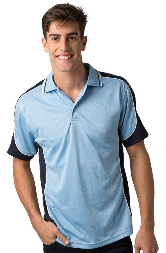 Be Seen-Be Seen Men's Polo Shirt With Striped Collar  6th( 8 Color )-Sky-Navy-White / XS-Uniform Wholesalers - 8