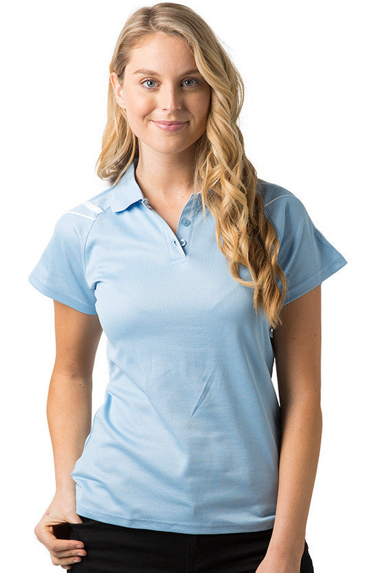 Be Seen-Be Seen Ladies Polo Shirt With Contrast Piping-Sky-White / 8-Uniform Wholesalers - 6