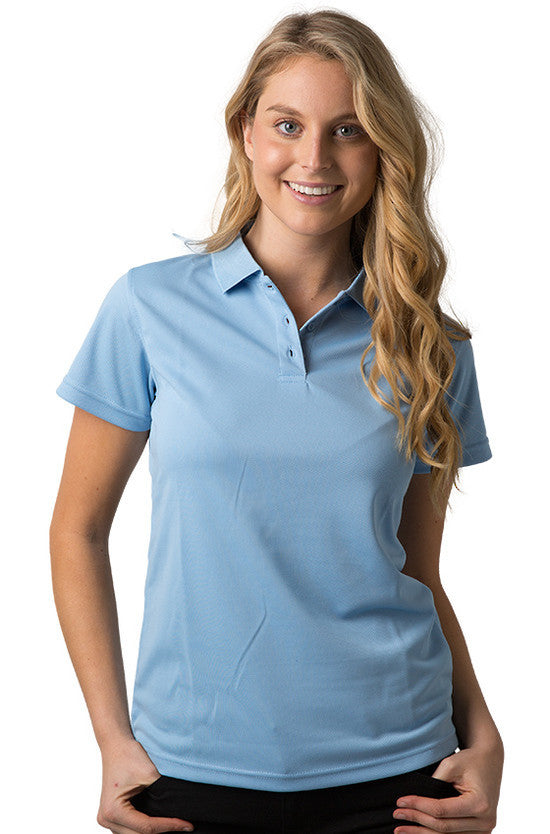 Be Seen-Be Seen Ladies Plain Polo Shirt With Herringbone Tape At Neck-Sky / 8-Uniform Wholesalers - 11