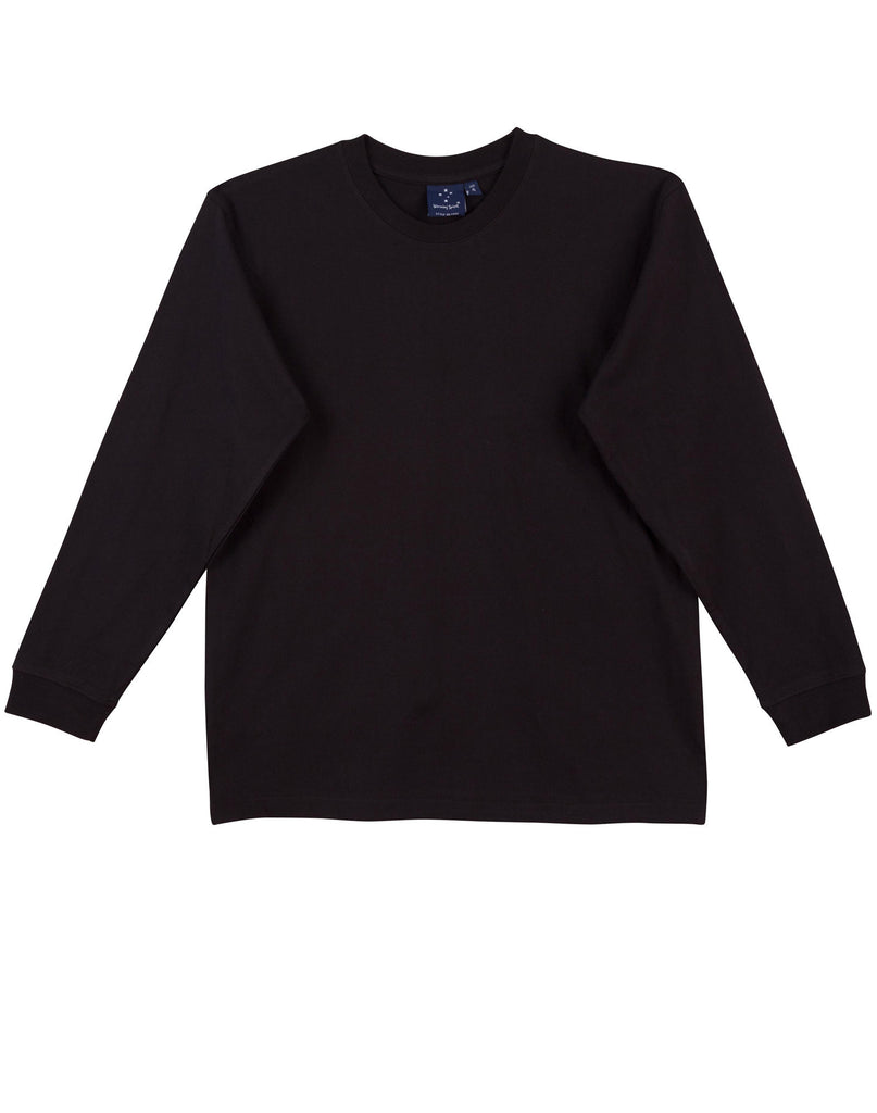 Winning Spirit-Winning Spirit 100% Cotton Crew Neck Long Sleeve Tee-Black / S-Uniform Wholesalers - 2
