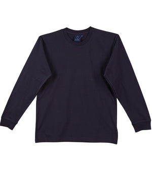 Winning Spirit-Winning Spirit 100% Cotton Crew Neck Long Sleeve Tee-Navy / S-Uniform Wholesalers - 3