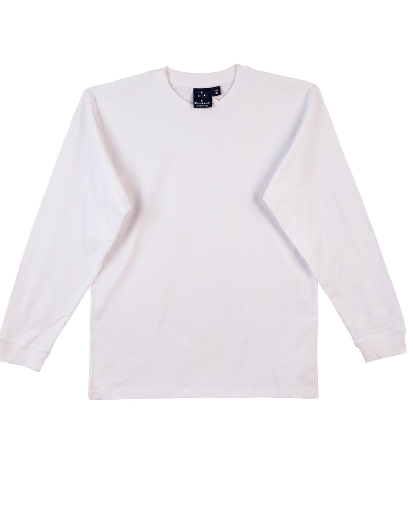 Winning Spirit-Winning Spirit 100% Cotton Crew Neck Long Sleeve Tee-White / S-Uniform Wholesalers - 4