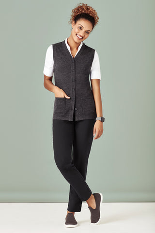 Biz Care Womens Button Front Knit Vest (CK961LV)