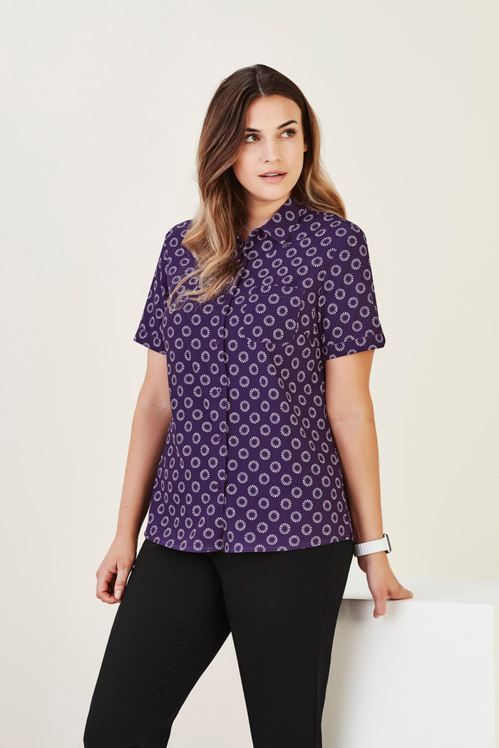 Biz Care Womens Florence Daisy Print Short Sleeve Shirt (CS948LS)