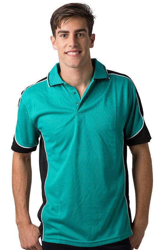 Be Seen-Be Seen Men's Polo Shirt With Striped Collar  6th( 8 Color )-Teal-Black-White / XS-Uniform Wholesalers - 1