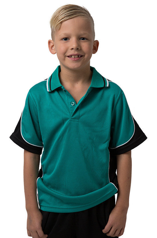 Be Seen-Be Seen Kids Polo Shirt With Striped Collar 4th(14 Color )-Teal-Black-White / 6-Uniform Wholesalers - 14