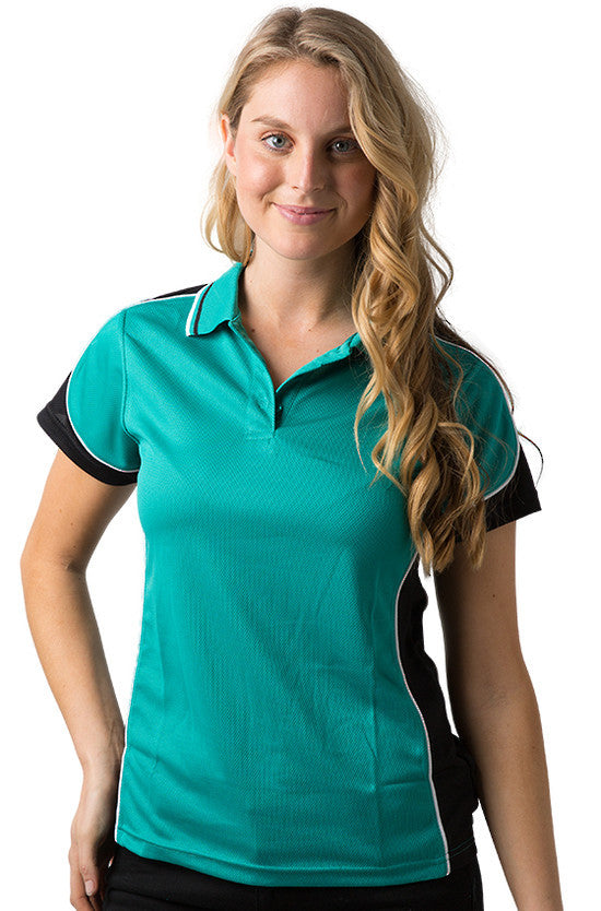 Be Seen-Be Seen Ladies Polo Shirt With Striped Collar 2nd( 7 Color )-Teal- Black-White / 8-Uniform Wholesalers - 5
