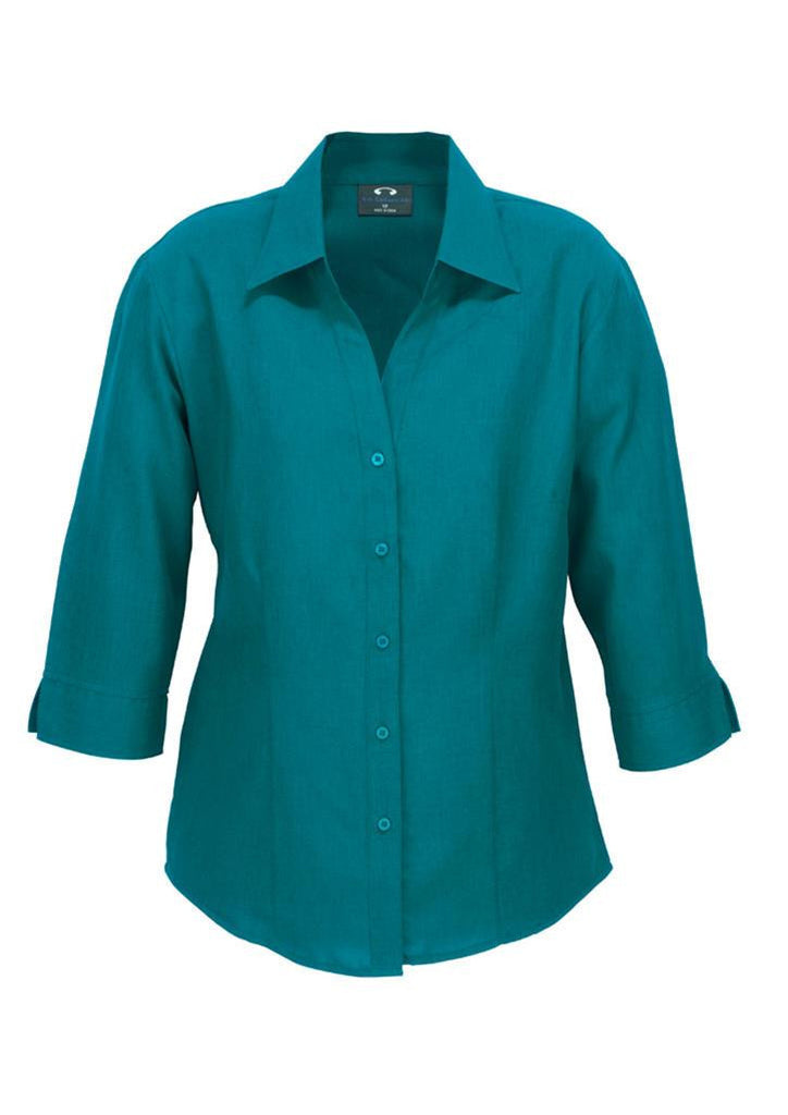 Biz Collection-Biz Collection Ladies Plain Oasis Shirt-3/4 Sleeve-Teal / 6-Uniform Wholesalers - 9