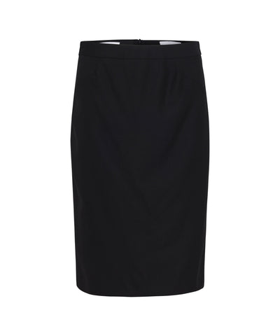 Van Heusen-Van Heusen  High Twist Wool Rich Suit Skirt With Box Pleat Back Detail-6 / Black-Uniform Wholesalers - 1