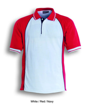Bocini-Bocini Men's Panel Polo-White/Red/Navy / S-Uniform Wholesalers - 5
