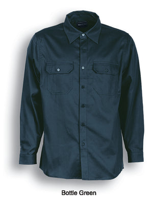 Bocini-Bocini Cotton Drill Work Shirt-Long Sleeves-Bottle Green / S-Uniform Wholesalers - 2