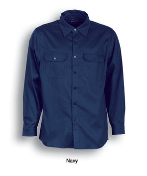 Bocini-Bocini Cotton Drill Work Shirt-Long Sleeves-Navy / S-Uniform Wholesalers - 3