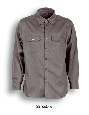 Bocini-Bocini Cotton Drill Work Shirt-Long Sleeves-Sandstone / S-Uniform Wholesalers - 4