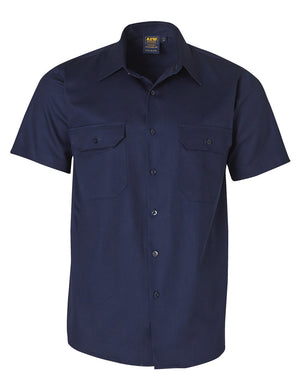 Winning Spirit Cotton Drill Short Sleeve Work Shirt-(WT03)