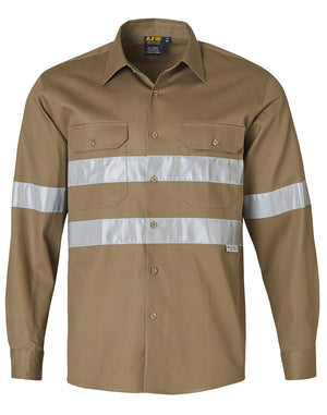 Winning Spirit Hi Vis Cotton Drill Long Sleeve Work Shirt-(WT04HV)