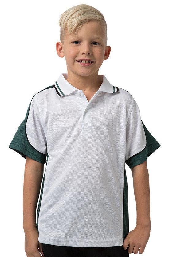 Be Seen-Be Seen Kids Polo Shirt With Striped Collar 5th( 12 White Color )-White-Bottle-Black / 6-Uniform Wholesalers - 1