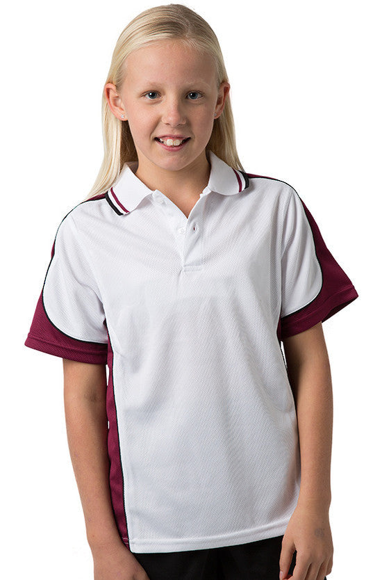Be Seen-Be Seen Kids Polo Shirt With Striped Collar 5th( 12 White Color )-White-Burgundy-Black / 6-Uniform Wholesalers - 2
