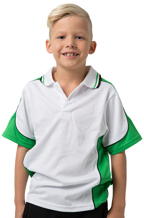 Be Seen-Be Seen Kids Polo Shirt With Striped Collar 5th( 12 White Color )-White-Emerald-Black / 6-Uniform Wholesalers - 3