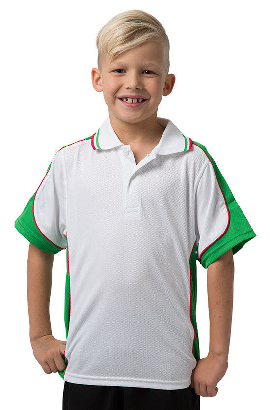 Be Seen-Be Seen Kids Polo Shirt With Striped Collar 5th( 12 White Color )-White-Emerald-Red / 6-Uniform Wholesalers - 4