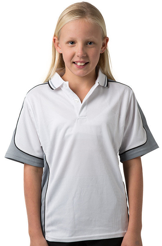 Be Seen-Be Seen Kids Polo Shirt With Striped Collar 5th( 12 White Color )-White-Grey-Black / 6-Uniform Wholesalers - 5