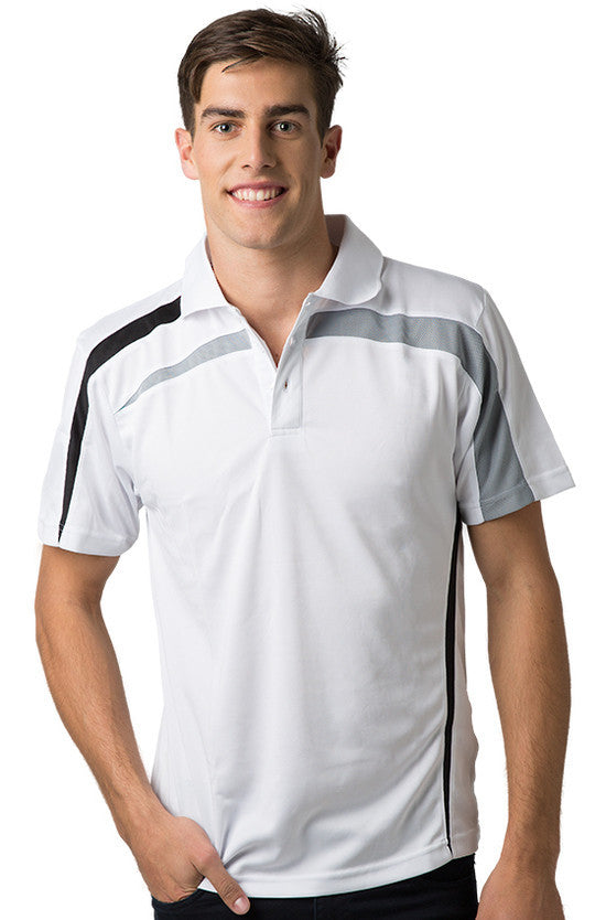Be Seen-Be Seen Adults Polo Shirt With Contrast Side And Shoulder Panel-White-Grey-Black / S-Uniform Wholesalers - 12